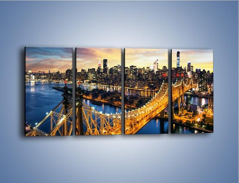 Obraz na płótnie – Queensboro Bridge w Nowym Yorku – czteroczęściowy AM768W1
