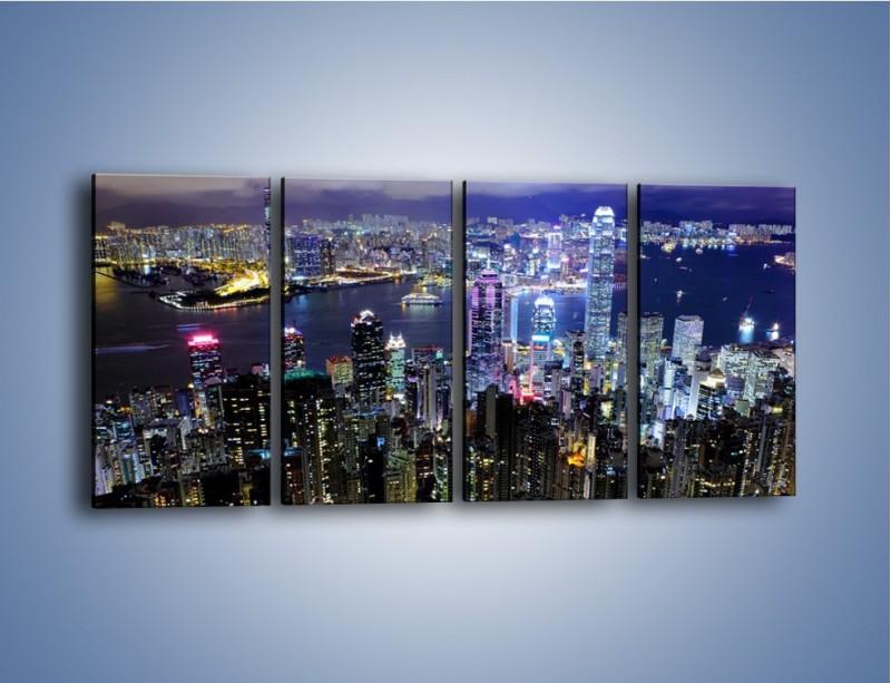 Obraz na płótnie – Nocna panorama Hong Kongu – czteroczęściowy AM772W1