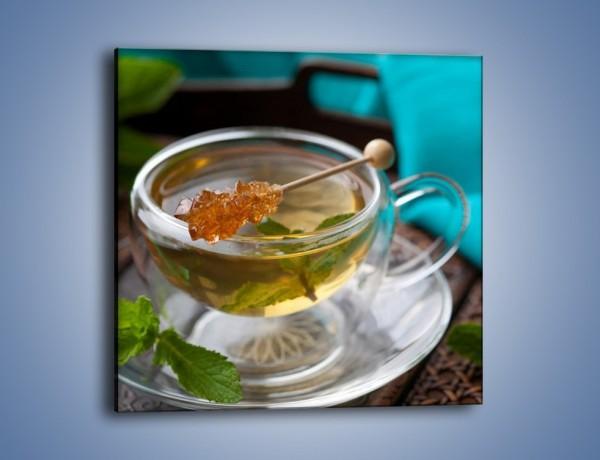 Obraz na płótnie – Oczyszczająca zielona herbata – jednoczęściowy kwadratowy JN104