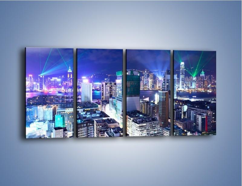Obraz na płótnie – Pokaz laserów nad Hong Kongiem – czteroczęściowy AM796W1