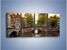 Obraz na płótnie – Amsterdamski kanał – czteroczęściowy AM800W1