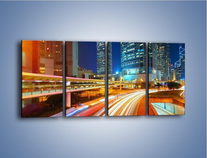 Obraz na płótnie – Nocne kolory miasta – czteroczęściowy AM808W1