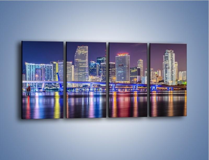 Obraz na płótnie – Światla Miami w odbiciu wód Biscayne Bay – czteroczęściowy AM813W1