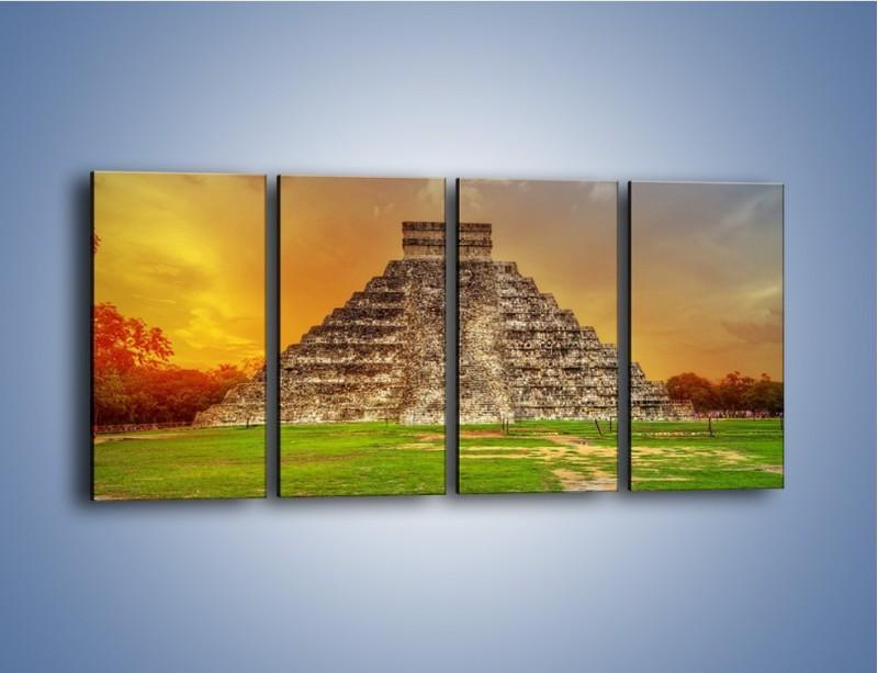 Obraz na płótnie – Piramida Kukulkana w Meksyku – czteroczęściowy AM814W1
