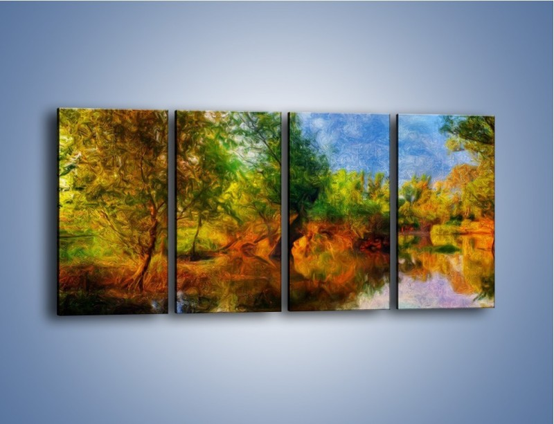Obraz na płótnie – Drzewa w wodnym lustrze – czteroczęściowy GR010W1