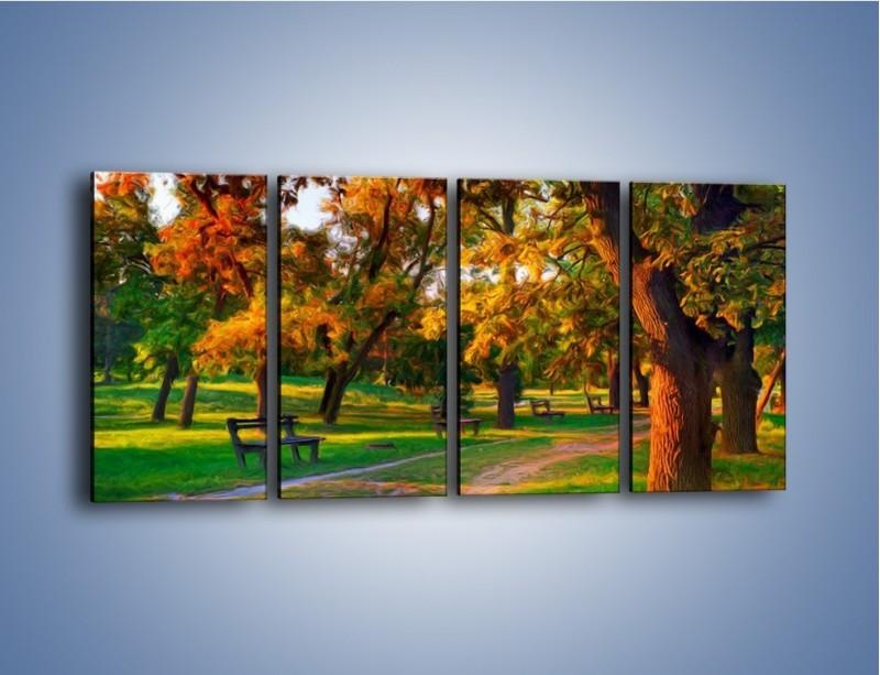 Obraz na płótnie – Ławeczka w parku – czteroczęściowy GR011W1