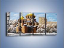 Obraz na płótnie – Cerkiew w trakcie zimy – czteroczęściowy GR024W1