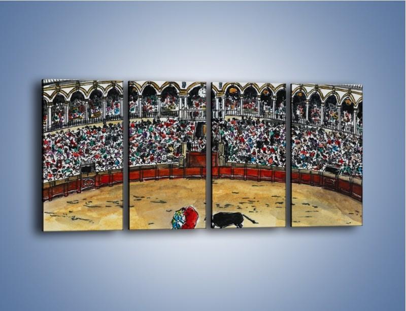Obraz na płótnie – Walka torreadora z bykiem – czteroczęściowy GR040W1