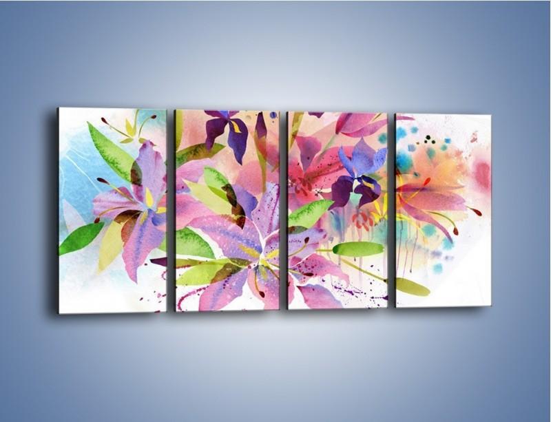 Obraz na płótnie – Kolory zachowane w kwiatach – czteroczęściowy GR043W1