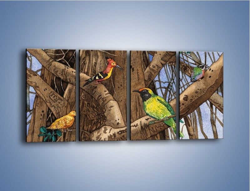 Obraz na płótnie – Mali przyjaciele na drzewie – czteroczęściowy GR050W1