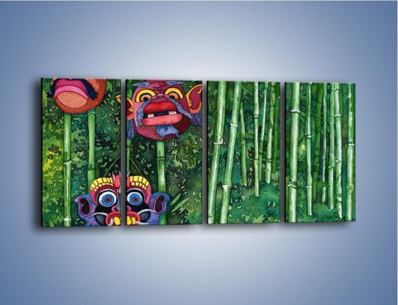 Obraz na płótnie – Maski dzikiego plemienia – czteroczęściowy GR051W1