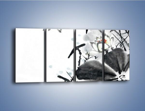 Obraz na płótnie – Kwiaty z kolorowym okiem – czteroczęściowy GR074W1