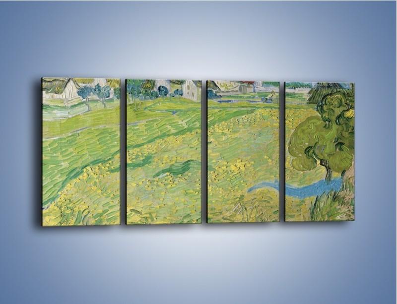 Obraz na płótnie – Łąka i małe domki – czteroczęściowy GR105W1