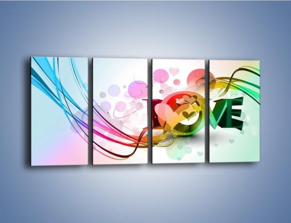 Obraz na płótnie – Przez kolor aż do miłości – czteroczęściowy GR124W1