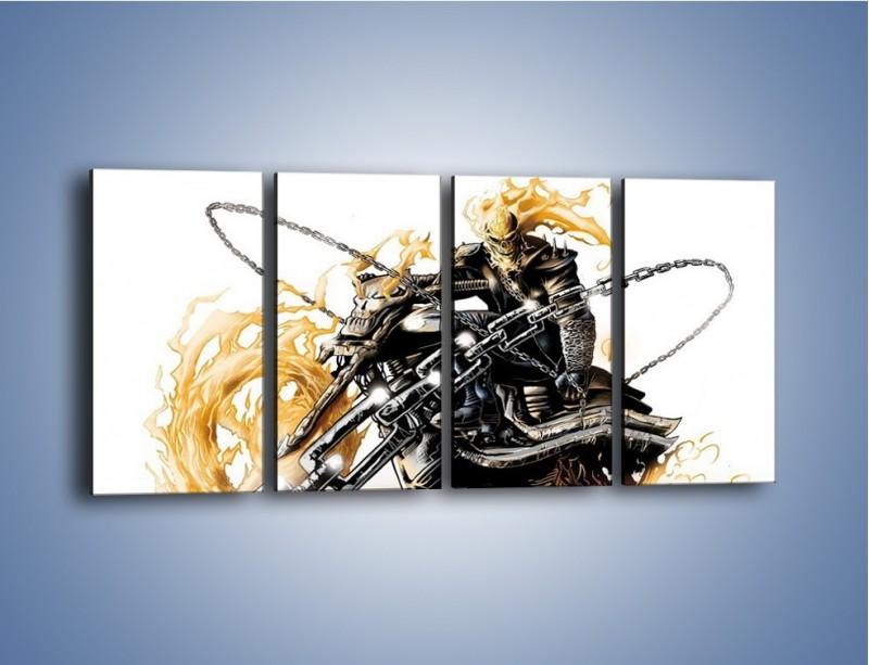 Obraz na płótnie – Mroczna postać na motorze – czteroczęściowy GR167W1