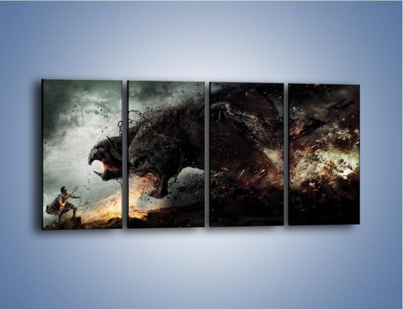 Obraz na płótnie – Groźny podmuch potworów – czteroczęściowy GR174W1