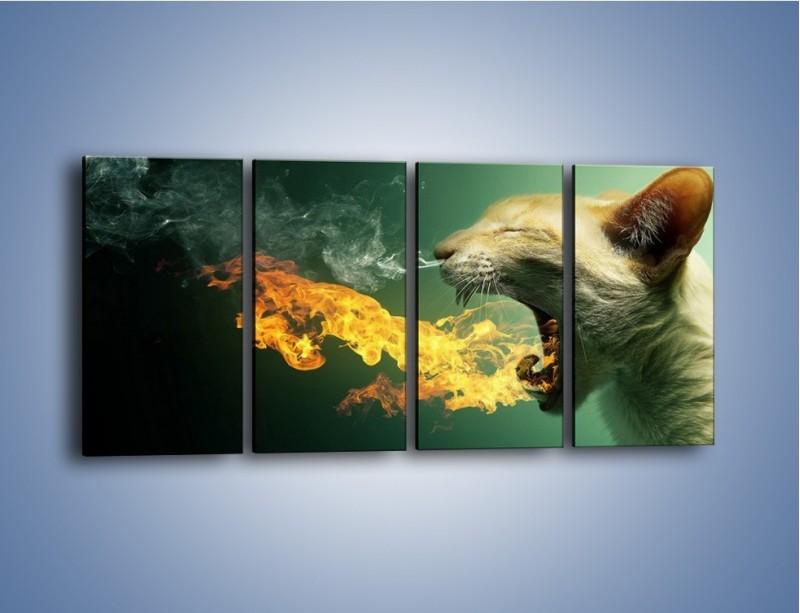 Obraz na płótnie – Kot z gorącym oddechem – czteroczęściowy GR180W1