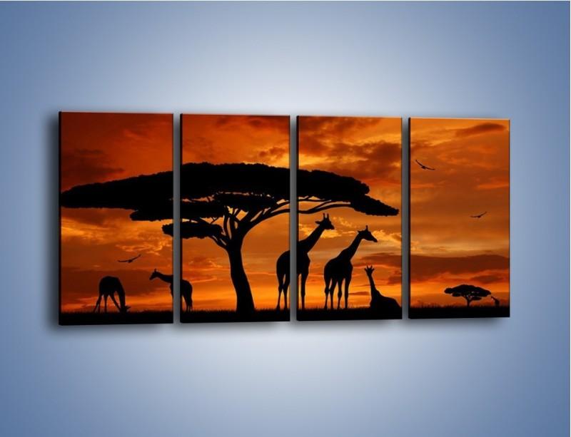 Obraz na płótnie – Żyrafy wieczorową porą – czteroczęściowy GR266W1