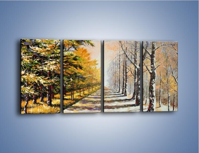 Obraz na płótnie – Trochę jesieni trochę zimy – czteroczęściowy GR292W1