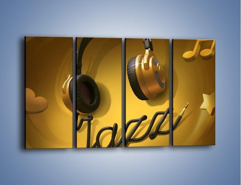Obraz na płótnie – Złote nuty jazzu – czteroczęściowy GR305W1