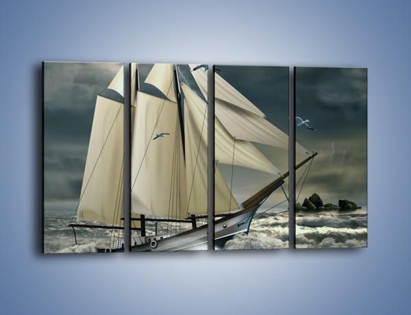 Obraz na płótnie – Walka okrętu z falami – czteroczęściowy GR308W1