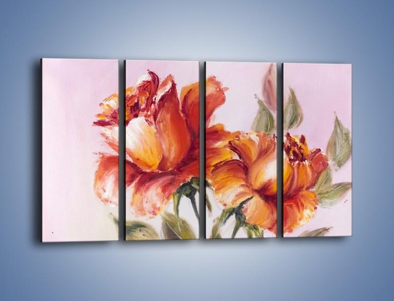 Obraz na płótnie – Kwiaty na płótnie malowane – czteroczęściowy GR322W1