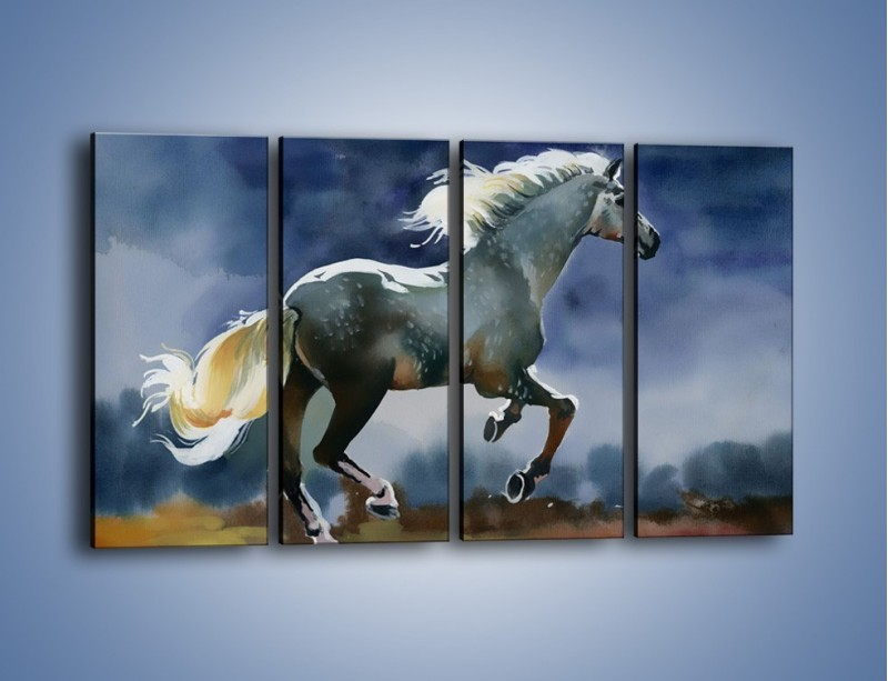 Obraz na płótnie – Bieg z koniem przez noc – czteroczęściowy GR339W1