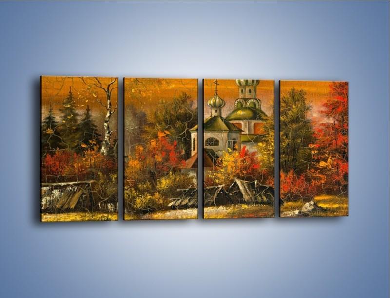 Obraz na płótnie – Kaplica późną jesienią – czteroczęściowy GR369W1