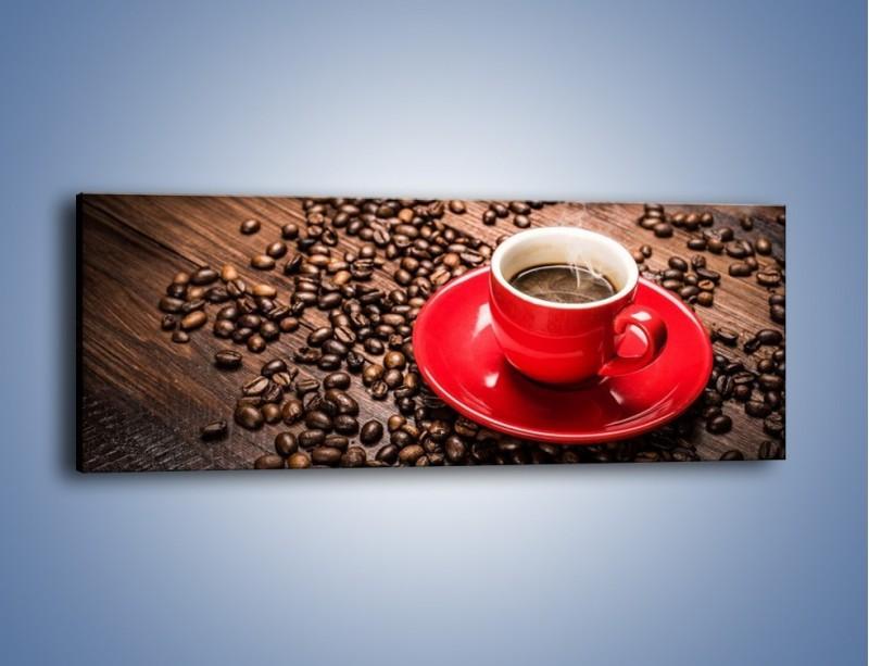 Obraz na płótnie – Kawa w czerwonej filiżance – jednoczęściowy panoramiczny JN441