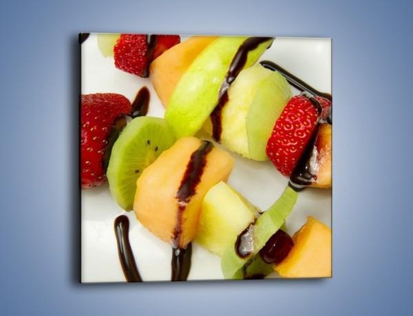 Obraz na płótnie – Czekoladowo-owocowe szaszłyki – jednoczęściowy kwadratowy JN112