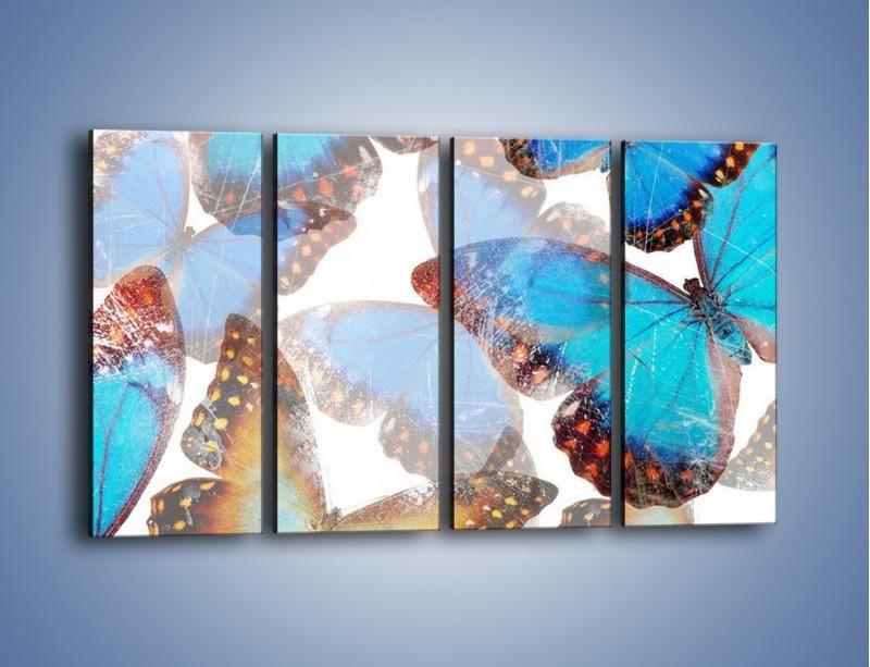Obraz na płótnie – Motyl w niebieskim kolorze – czteroczęściowy GR403W1