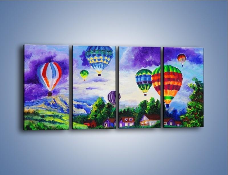 Obraz na płótnie – Lot kolorowym balonem – czteroczęściowy GR482W1