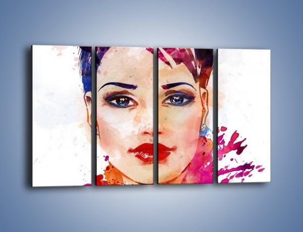 Obraz na płótnie – Piękna kobieta w kolorze – czteroczęściowy GR499W1