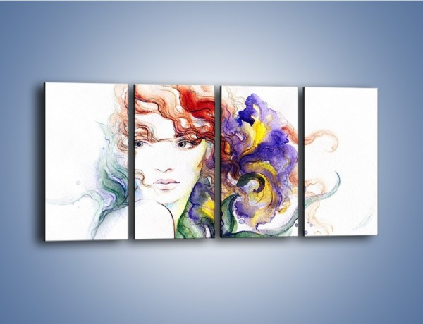 Obraz na płótnie – Kolory we włosach – czteroczęściowy GR513W1