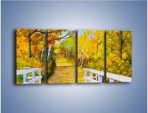 Obraz na płótnie – Alejką w słoneczna jesień – czteroczęściowy GR540W1