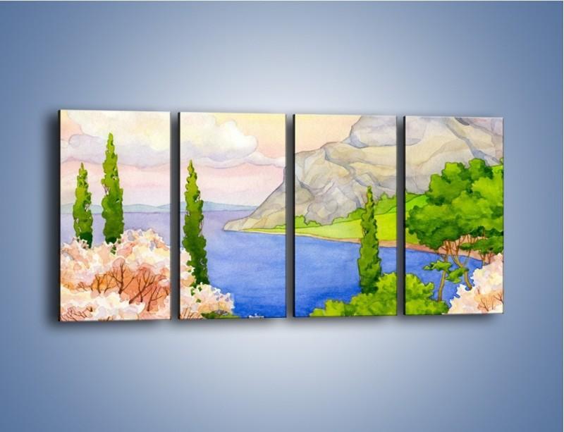 Obraz na płótnie – Krajobraz jak z pocztówki – czteroczęściowy GR541W1
