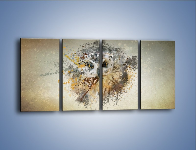Obraz na płótnie – Czujne spojrzenie sowy – czteroczęściowy GR592W1