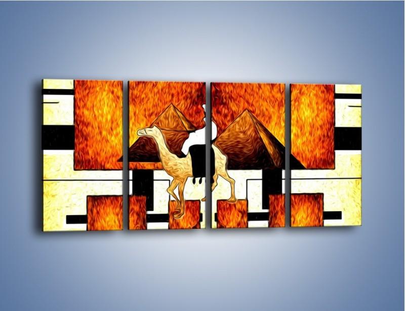 Obraz na płótnie – Wędrówka na wielbłądzie – czteroczęściowy GR593W1