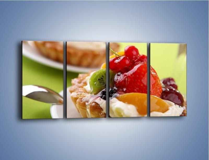 Obraz na płótnie – Owocowe babeczki z kremem – czteroczęściowy JN021W1