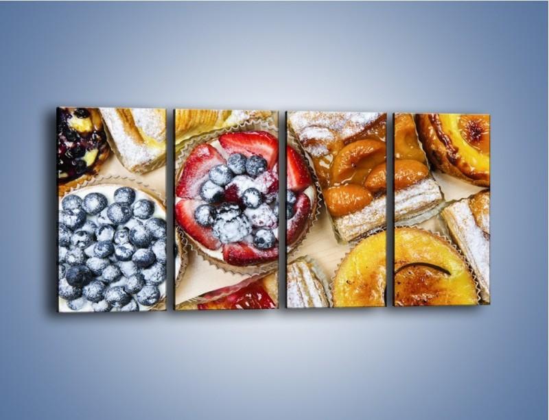 Obraz na płótnie – Kolorowe wypieki z dodatkiem owoców – czteroczęściowy JN032W1