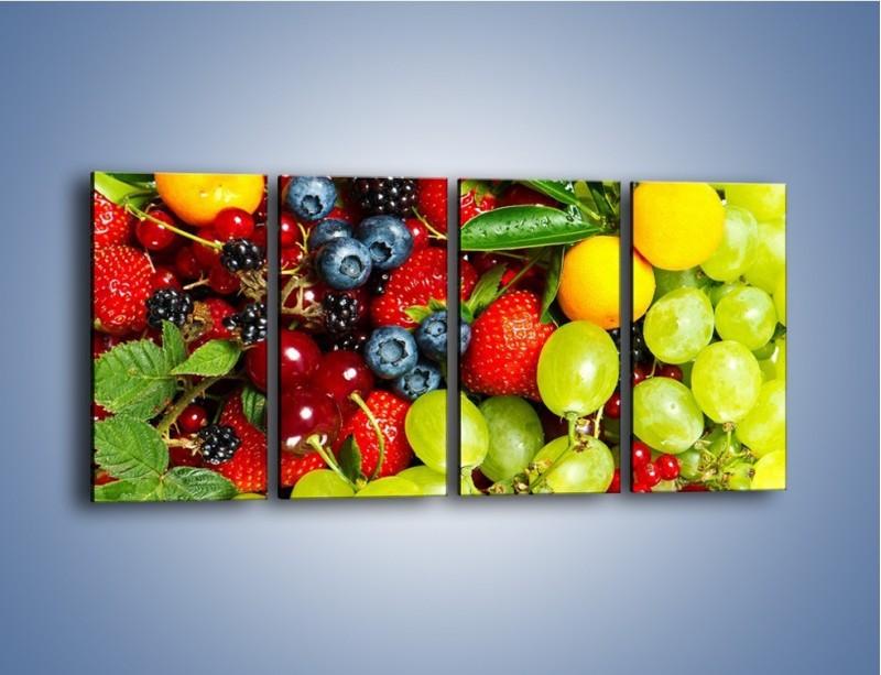 Obraz na płótnie – Wymieszane kolorowe owoce – czteroczęściowy JN037W1