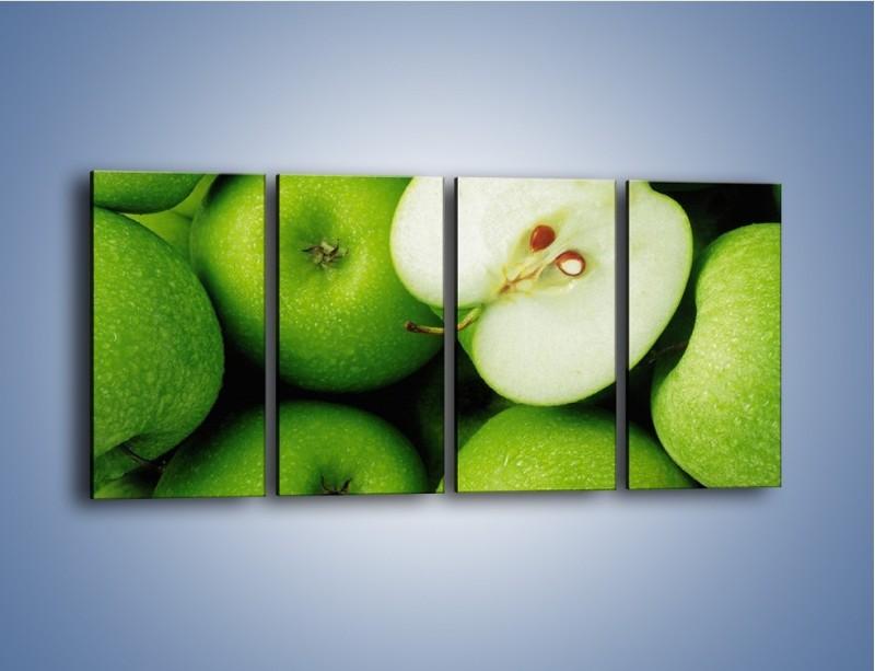 Obraz na płótnie – Zielone jabłuszka – czteroczęściowy JN039W1