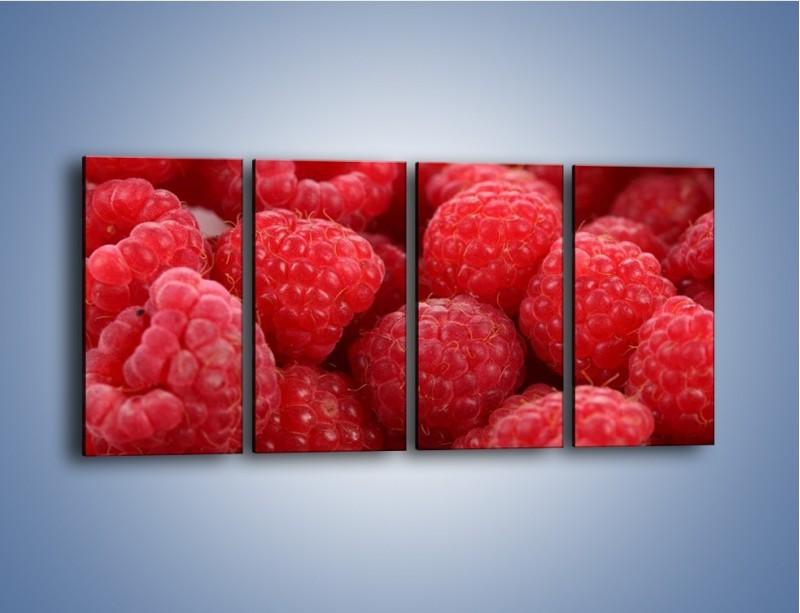 Obraz na płótnie – Zdrowe dojrzałe maliny – czteroczęściowy JN045W1