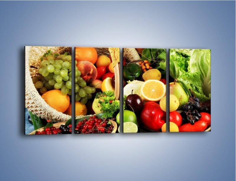 Obraz na płótnie – Kosz pełen owocowo-warzywnego zdrowia – czteroczęściowy JN059W1