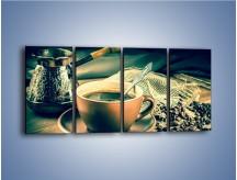 Obraz na płótnie – Czarna kawa arabica – czteroczęściowy JN064W1
