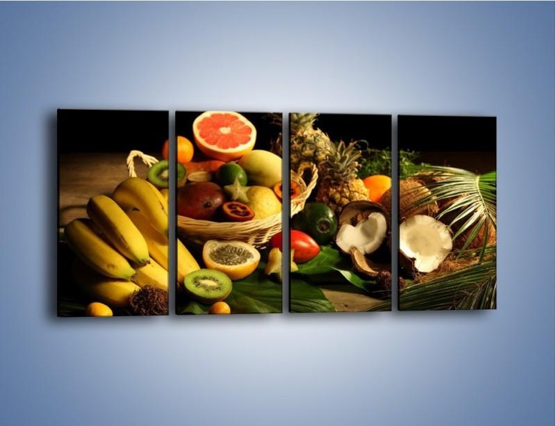 Obraz na płótnie – Kosz egzotycznych owoców – czteroczęściowy JN074W1