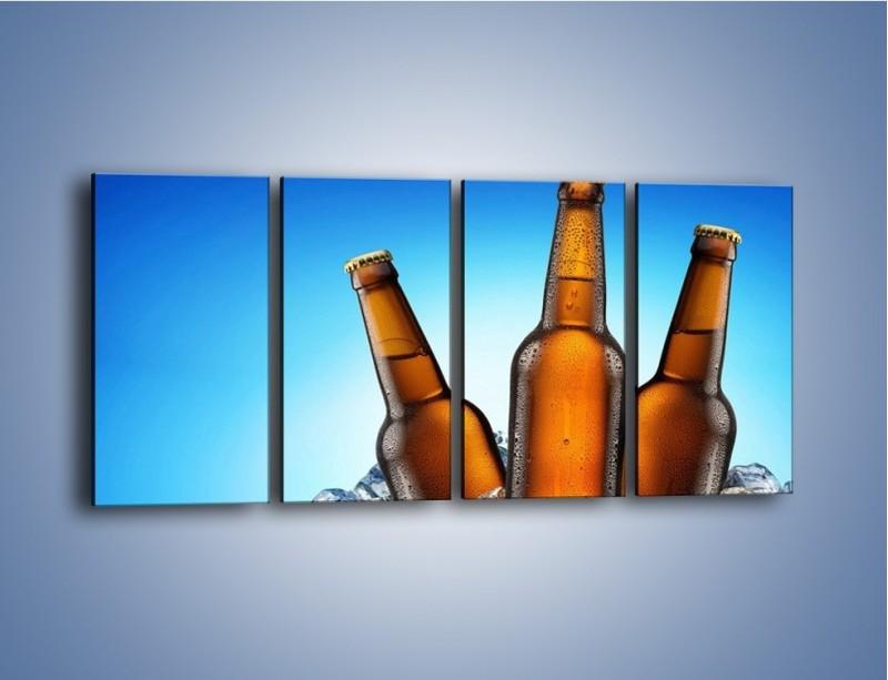 Obraz na płótnie – Szron na butelkach piwa – czteroczęściowy JN075W1