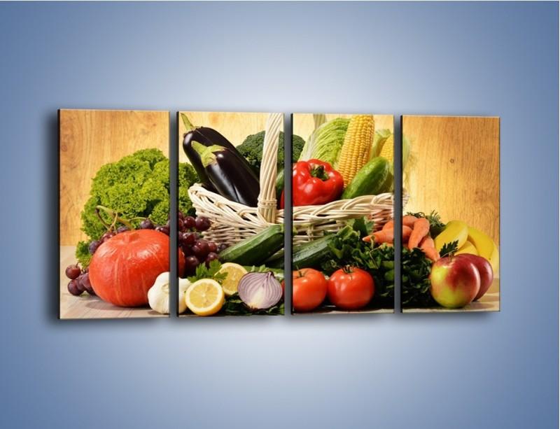 Obraz na płótnie – Kosz pełen warzywnych witamin – czteroczęściowy JN081W1