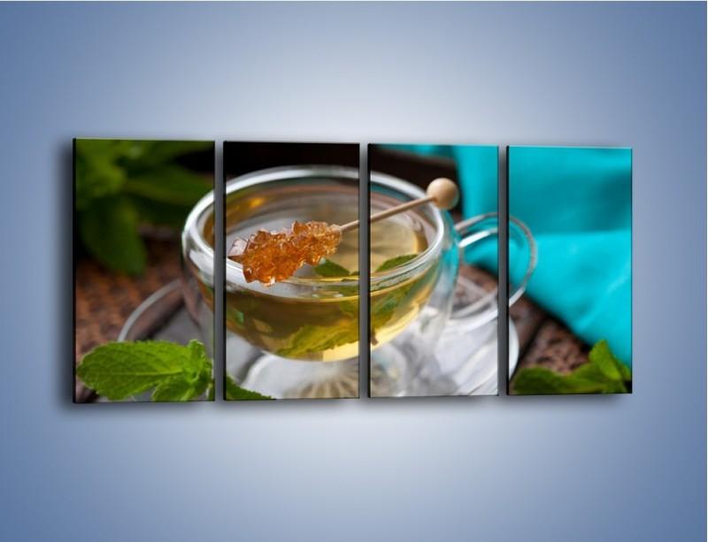 Obraz na płótnie – Oczyszczająca zielona herbata – czteroczęściowy JN104W1