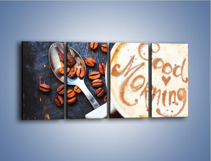 Obraz na płótnie – Kawa na miły początek dnia – czteroczęściowy JN180W1